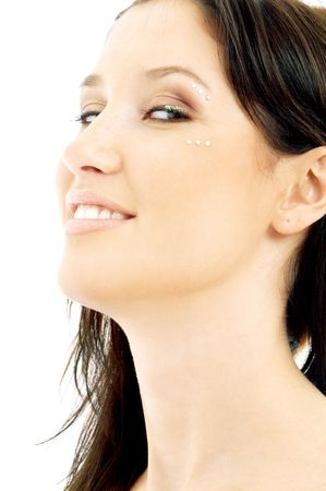 portrait of smiling brunette with diamond make-up Stock Photo - 699163