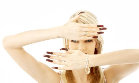 blond with long nails over white background Stock Photo - 707178