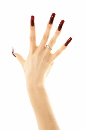hand with long acrylic nails over white Stock Photo - 707181
