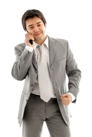businessman with cellular phone in grey suit over white Stock Photo - 717634