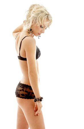 fit blond in black underwear over white Stock Photo - 717632