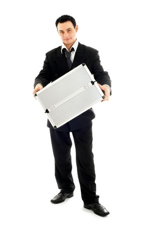 trusty: picture of businessman showing metal container over white background
