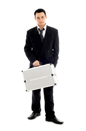 picture of businessman with metal container over white background photo