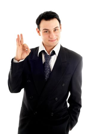 friendly businessman showing ok sign over white photo