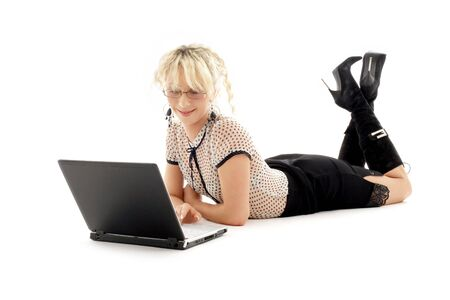 relaxed office lady with laptop computer over white Stock Photo - 720563
