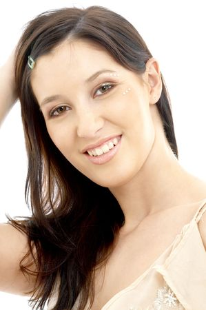 portrait of smiling brunette with diamond make-up photo