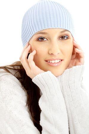 remedial: portrait of lovely brunette in winter hat Stock Photo