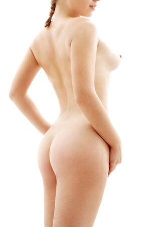 classical nude picture of healthy woman over white
