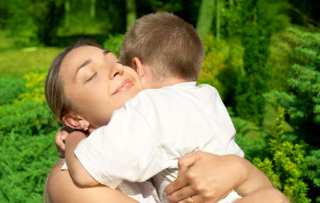 outdoor picture of happy mother with son Stock Photo - 749208