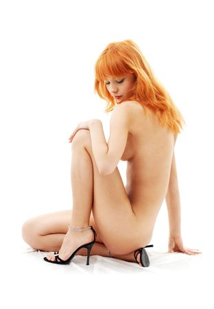 naked redhead on high heels over white Stock Photo - 749205