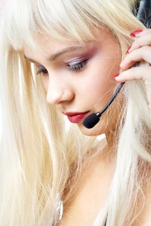 portrait of customer service blond with long hair photo