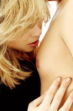 intimate closeup image of sensual couple foreplay