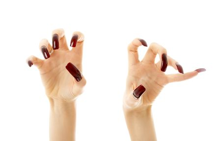 10 fingers: hands with long acrylic nails over white Stock Photo