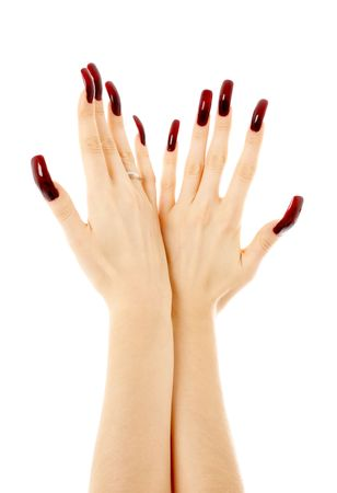 two hands with long acrylic nails over white Stock Photo - 780921