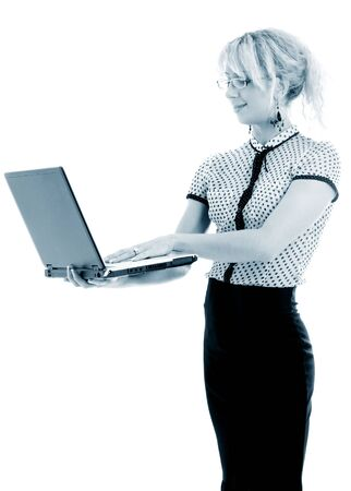 monochrome portrait or energetic businesswoman with laptop computer over white photo