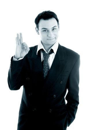 monochrome picture of friendly businessman showing ok sign over white Stock Photo - 780926