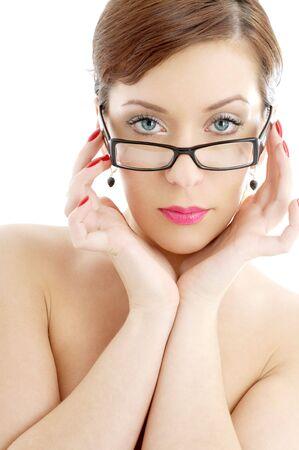 portrait of topless lady in black plastic eyeglasses photo