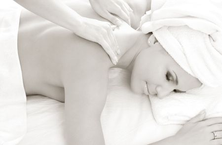 monochrome picture of lovely lady in massage salon Stock Photo - 780911