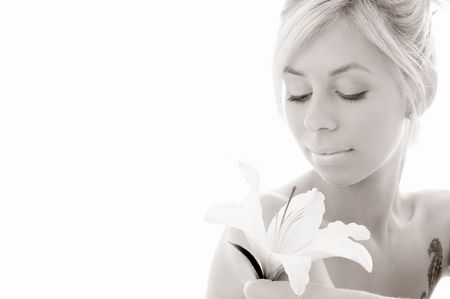 monochrome picture of pretty lady with madonna lily over white background Stock Photo - 804223
