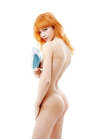nude babe: naked redhead with blue fan over white Stock Photo