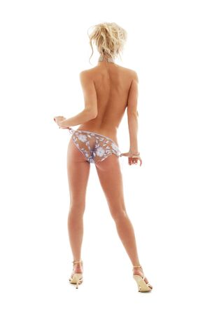 topless pin-up blond in blue panties over white Stock Photo - 804328