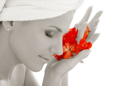 monochrome woman with red flower petals in spa Stock Photo - 804329