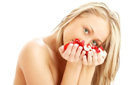 portrait of lovely blond in spa with red and white rose petals Stock Photo - 804334