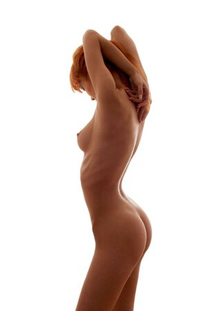 classical silhouette artistic nudity image over white photo