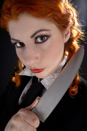 portrait of crazy schoolgirl with big knife Stock Photo - 837339