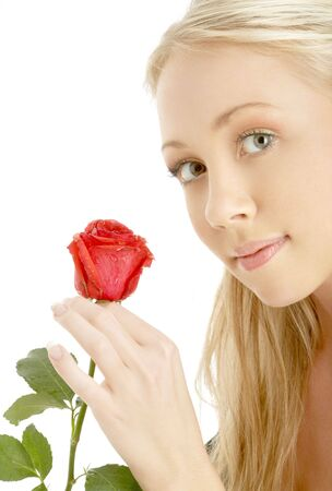 picture of romantic blond with red rose photo