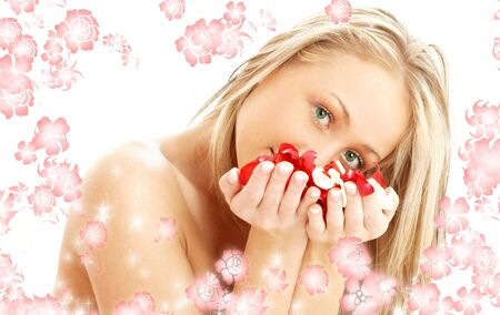 portrait of lovely blond with red and white rose petals and rendered flowers Stock Photo - 849670