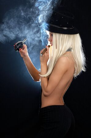 cabaret dancer girl with cigar and grenade Stock Photo - 856298