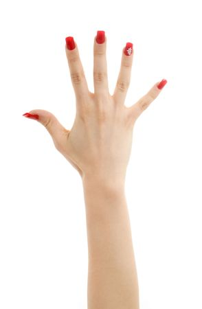 picture of hand with red nails over white photo