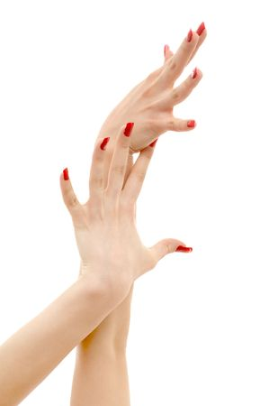 picture of two hands with red nails over white photo