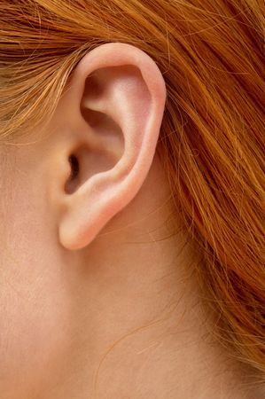 color closeup picture of redhead lady ear photo