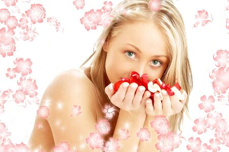 portrait of lovely blond with red and white rose petals and rendered flowers photo