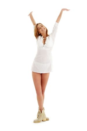 picture of happy girl in white dress and boots Stock Photo - 883057