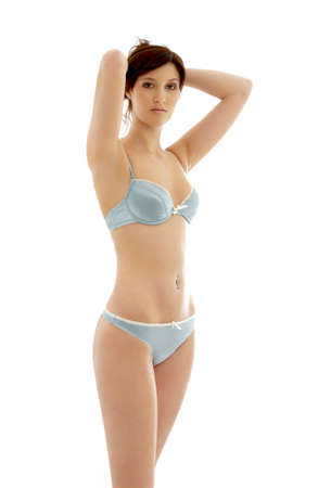 lovely brunette in blue lingerie over white Stock Photo - 889408