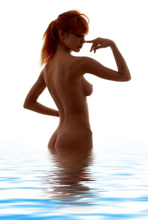 classical silhouette image of fit girl standing in water Stock Photo - 892104