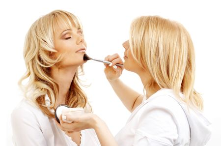 loose skin: lovely blond at professional makeup studio