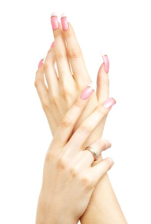 two hands with pink acrylic nails over white photo