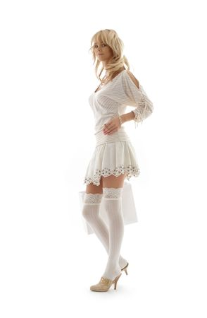 reckless: gorgeous blond with shopping bag over white Stock Photo