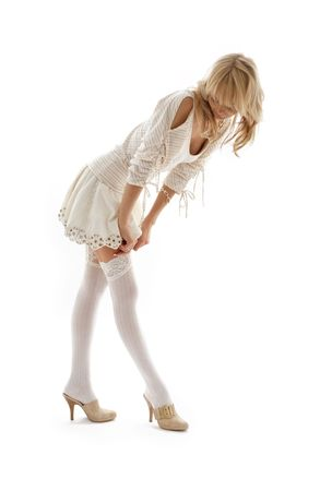 picture of lovely blond dressing up over white Stock Photo - 902059