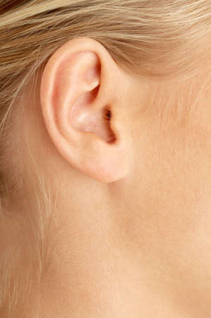 listening ear: color closeup picture of blond girl ear