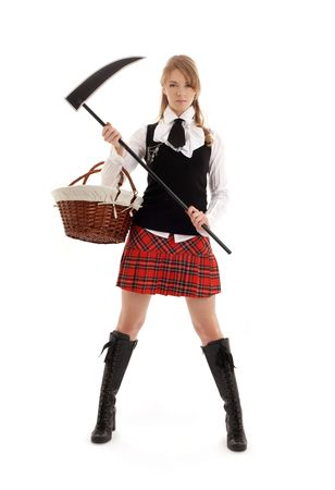 angry schoolgirl with black scythe over white Stock Photo