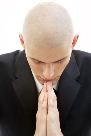 Retrato de la oración el hombre de negro traje largo de color blanco  Foto de archivo - 930095