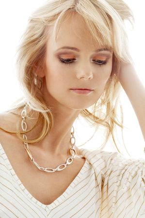 portrait of lovely blond with golden necklace Stock Photo - 936095