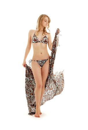 walking bikini girl with sarong over white background Stock Photo - 938978