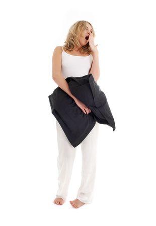 slumberous: sleepy blond with black pillow over white