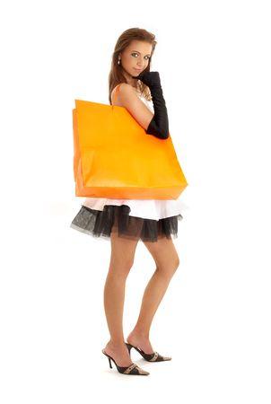 elegant lady with orange shopping bag over white Stock Photo - 967988